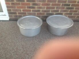 2 large catering aluminium casserole/stew/curry pots with lids