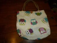 Handmade Owl pattern lunch bag. good used condition