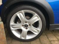"""Mini Cooper S 17"""" Bullet Alloy wheels with nearly new runflat tyres"""