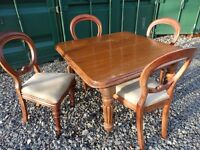 Elegant Compact Antique Wanut Table & 4 Balloon Chairs