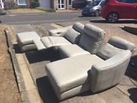 Grey leather sofa with armchair and electric recliners
