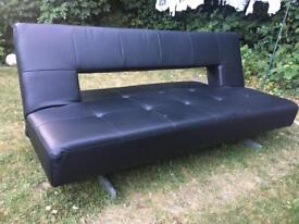 Sofa bed : Black leather
