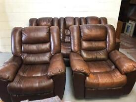 Brown leather all reclining 3 piece suite