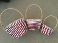 Three Co-ordinated Various Sized Baskets With Red & White Weaving