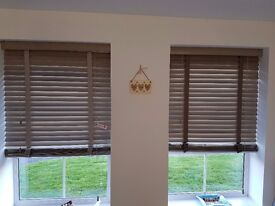 2 x Wooden Blinds - 50mm slat, 86.5cm width x 142.5cm drop