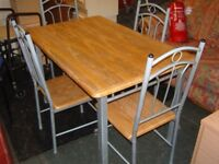 Solid Wood Topped Dining Table And 4 Chairs
