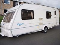 6 berth bailey ranger 2003 clean family caravan with awning