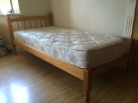 SINGLE PINE BED WITH QUALITY MATTRESS