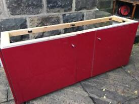 Red lacquer fitted cabinet frame and doors