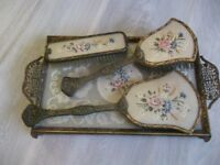 Vintage Las Dressing Table Set Tray 2 Brushes Hand Mirror