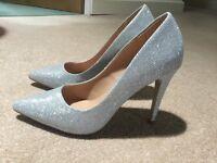 "Silver glitter shoes - 4"" stiletto heels - by Dune"