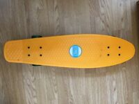 "D Street skateboard 28"" long - organge&blue"