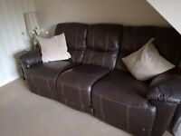 3 and 2 seater stylish and comfortable brown leather recliners