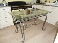 Dining table-Metal scrolled with glass top (safety glass)