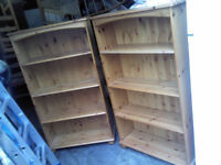 2 x SOLID PINE IDENTICAL BOOK SHELF / BOOK CASE WITH BUN FEET- GREAT CONDITION