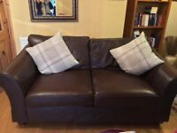 2 leather brown couches £100