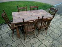 Farmhouse table rustic and 6 Pynock chairs 1950s-1960s