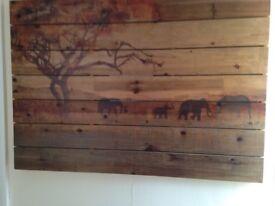 Elephants on the Serengeti wooden wall art