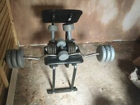 Weights set and pull up bench