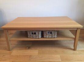 IKEA SKOGHALL Oak Veneer Coffee Table with 4 Storage Baskets
