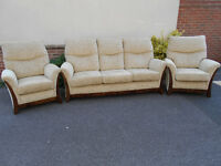 Lovely lounge suite, oatmeal upholstered - 3 seater sofa and 2 armchairs - can deliver