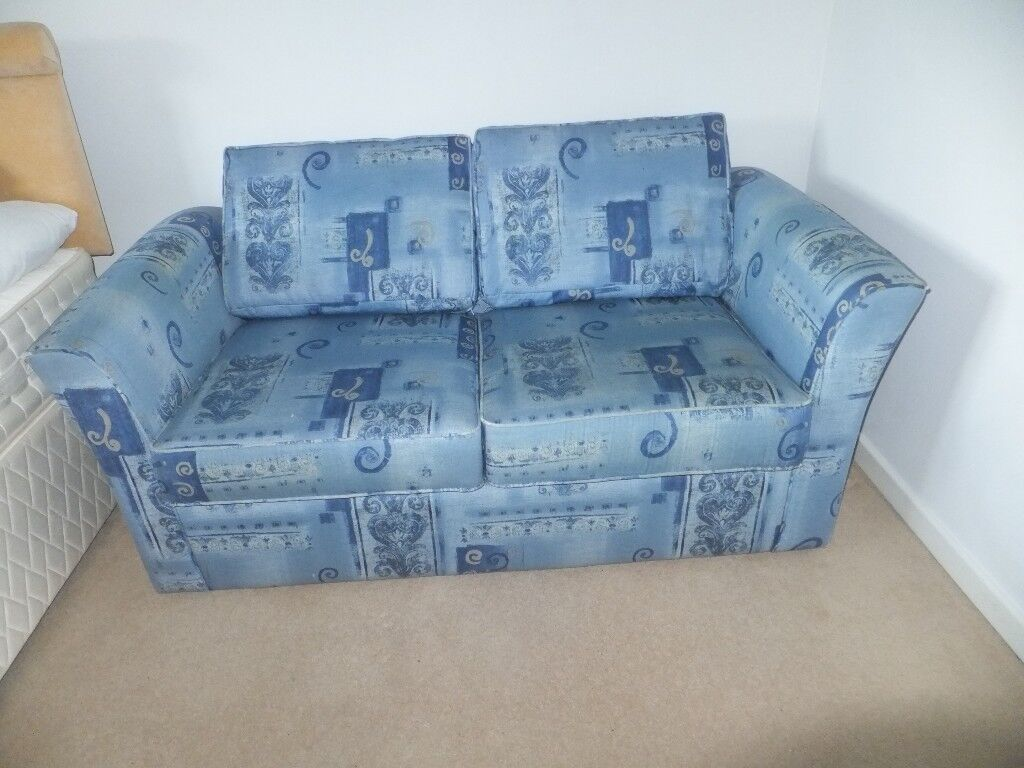 Two Seater Sofa Bed With Metal Pull Out Action Very Comfy