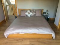 Ikea Malm king size bed and mattress Length: 209 cm, Width: 196 cm, Footboard height: 38 cm