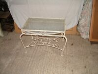 Shabby chic wrought iron glass top coffee table
