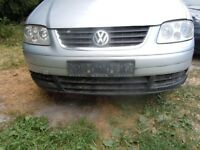 VW TOURAN 2K CADDY CONVERSION GENUINE FRONT BUMPER WITH GRILL IN SILVER COMPLETE GOOD CONDITION