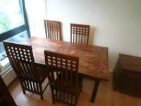 Solid teak hardwood dinning table 4 chairs sideboard and storage box. Hand crafted