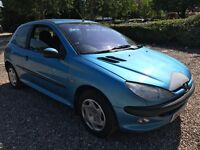 Peugeot 206 GLX 1360cc Petrol 5 speed manual 3 door hatchback X Reg 16/02/2001 Blue