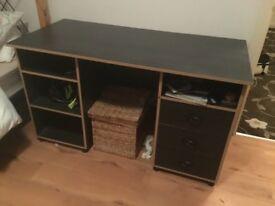 Black study desk decent order three drawers