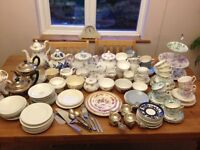 Vintage tea party cups, saucers, teapots, cake stands mix and match some small sets