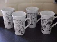 Set Of 4 Large Farm Animal Mugs - Brand New