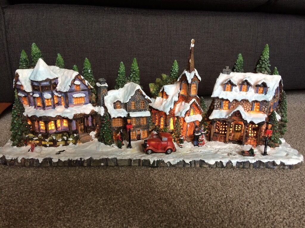 christmas light up village scene