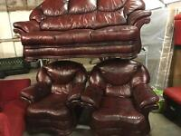 Leather 3 11 in oxblood sofa set