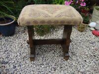 Vintage,Walnut,Upholstered,Piano Stool.
