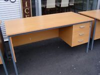 Office Desks in Beech Effect with 3 Drawers and Key