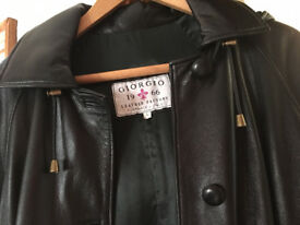 REDUCED Soft black Italian leather coat with detachable hood