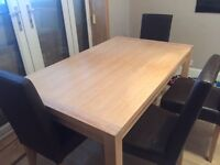 Morris Furniture Solid Oak table & 4 brown leather chairs