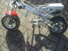 Mini Moto Frame with Forks wheels/tyres /brakes /rear cog mudguard for spares or repair see picture