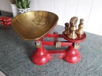 Set of Brass Kitchen Scales with weights