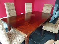 Solid wood, large Marks and Spencer dining table.