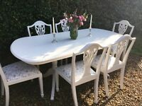 Stunning Shabby Chic Painted French Style Extending Dining Table & 6 Chairs F&B