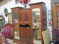 STUNNING IMPRESSIVE VICTORIAN INLAID MAHOGANY 'COMPACTUM'-WARDROBES/DRAWERS/CABINET + DRESSING TABLE