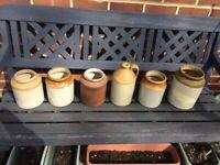 Vintage stoneware / earthenware pots and bottles / flagon