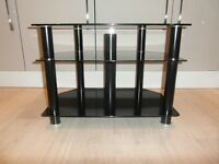 TV Stand - Gloss Black Glass - Black Legs - 3 Tier - Cable Management system