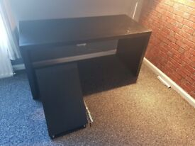 [USED] Ikea MALM Desk with pull-out panel (black-brown)
