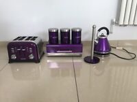 FOR SALE , kettle, 4 slice toaster, breadbin, 3 canisters, kitchen roll holder ALL PURPLE
