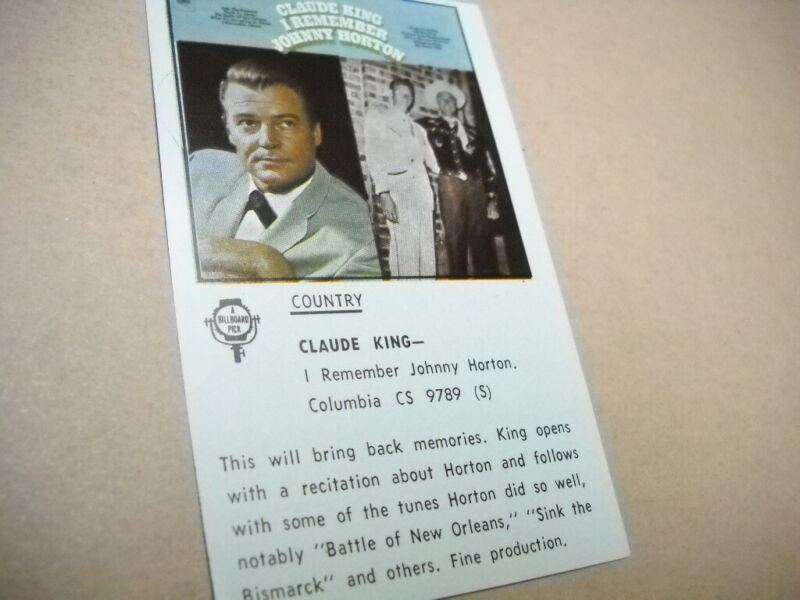 CLAUDE KING original Vintage music biz promo lp review I REMEMBER JOHNNY HORTON